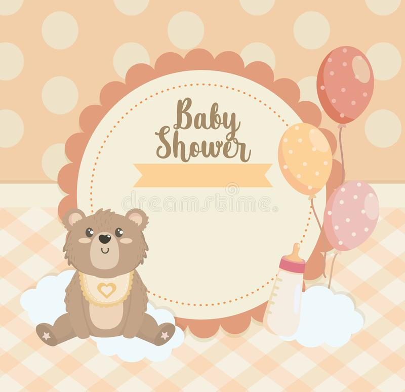 Label of teddy bear with balloons and feeding bottle stock illustration