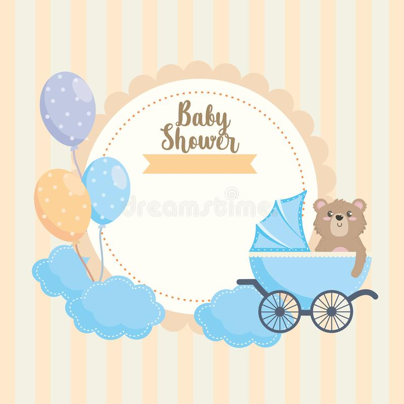Label of teddy bear with carriage and balloons decoration stock illustration
