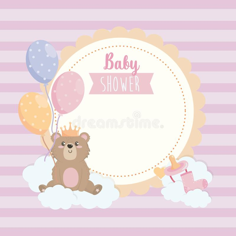 Label of teddy bear wearing crown with balloons and ribbon royalty free illustration