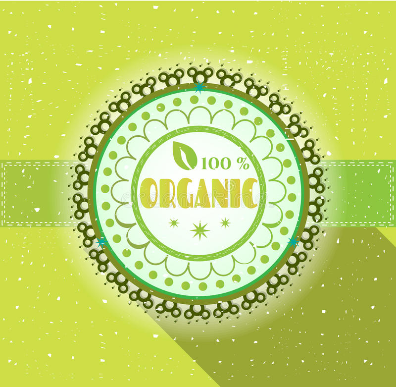 Label with text, flat, retro design, green. One, huge, green label on bright background royalty free illustration