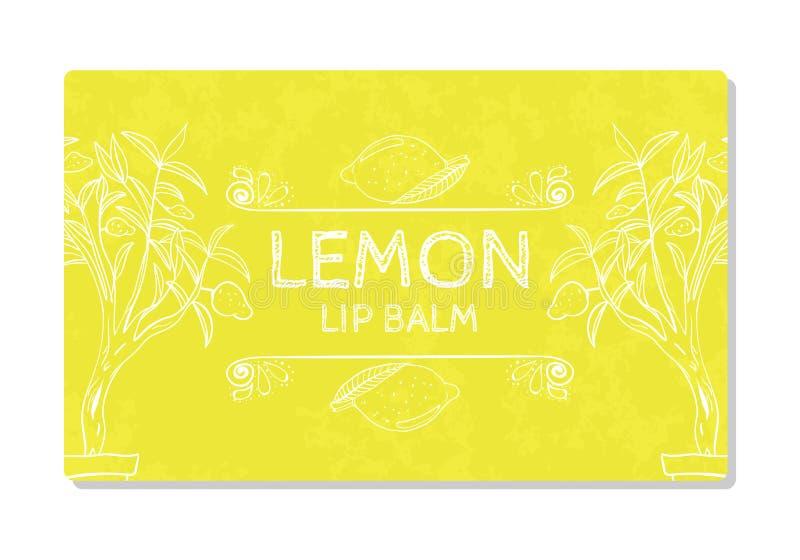 Label texturisé coloré, autocollant pour les produits cosmétiques Citron de rouge à lèvres de conception d'emballage Vecteur illustration libre de droits