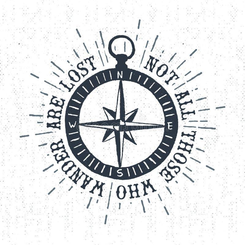 Label texturisé tiré par la main de vintage avec l'illustration de vecteur de rose de boussole illustration stock