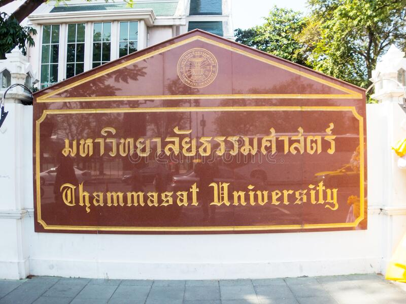 Label of Thammasat University Bangkok thailand. Images for commercial user.n stock photography