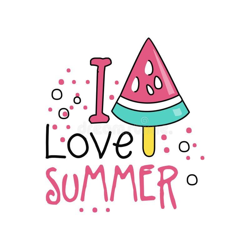 Label tiré par la main coloré avec le morceau de crème glacée de pastèque sur le bâton J'aime l'été Ligne icône de style Vecteur  illustration stock