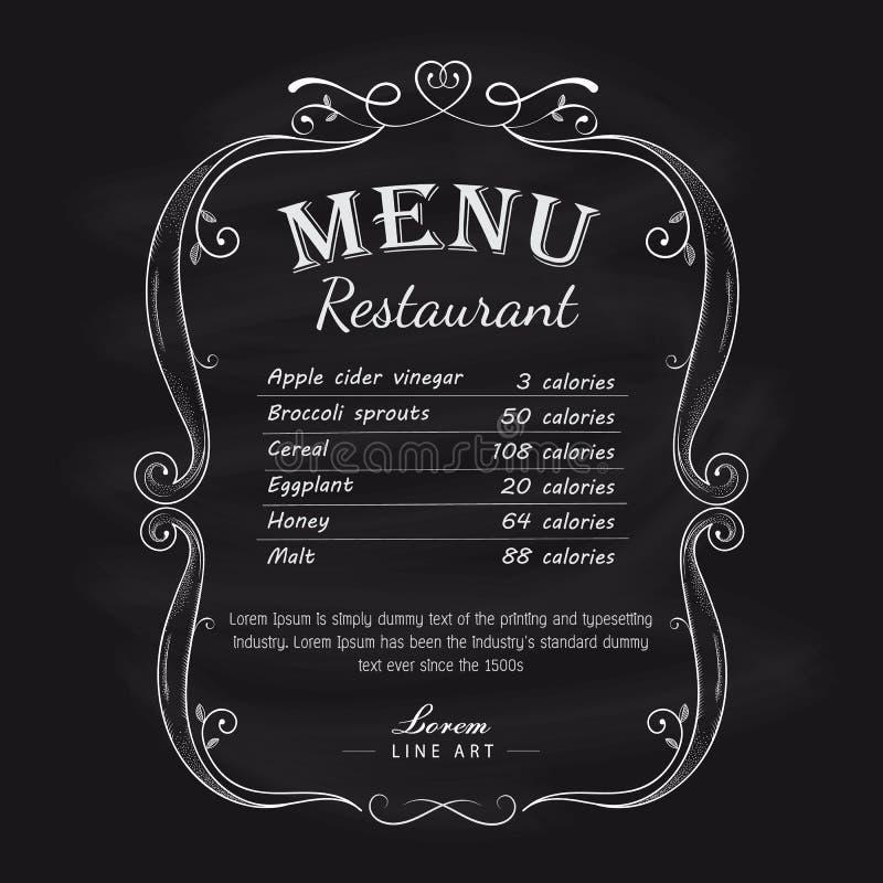 Label tiré par la main de cadre de vintage de menu de restaurant de tableau noir illustration stock