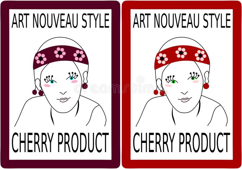 Label to a product of cherry fruit with girlish head. In art nouveau style vector illustration
