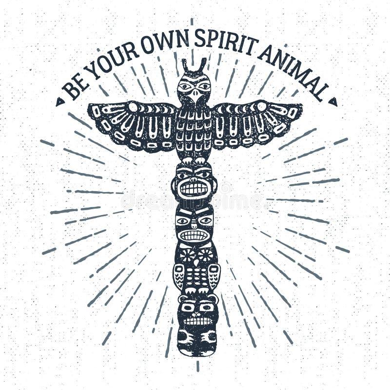 Label tribal tiré par la main avec l'illustration de vecteur de poteau de totem illustration stock