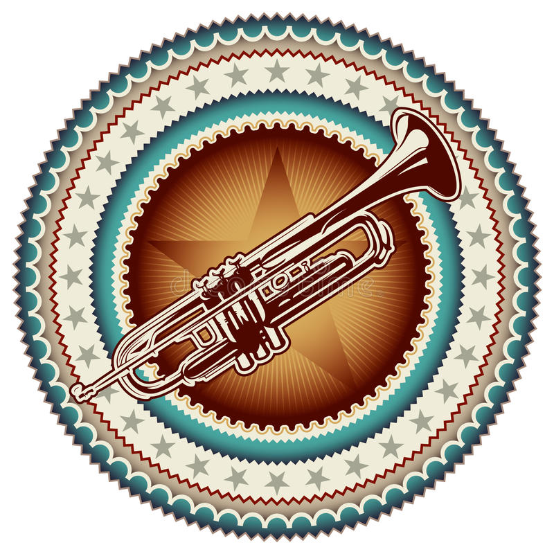 Download Label With Trumpet. Stock Photo - Image: 19328050