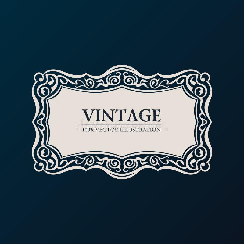 Label vector framework. Vintage banner decor. Ornament vector illustration