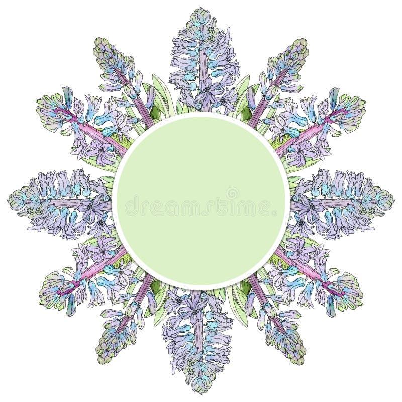 Label vert avec les fleurs bleues de jacinthe photographie stock