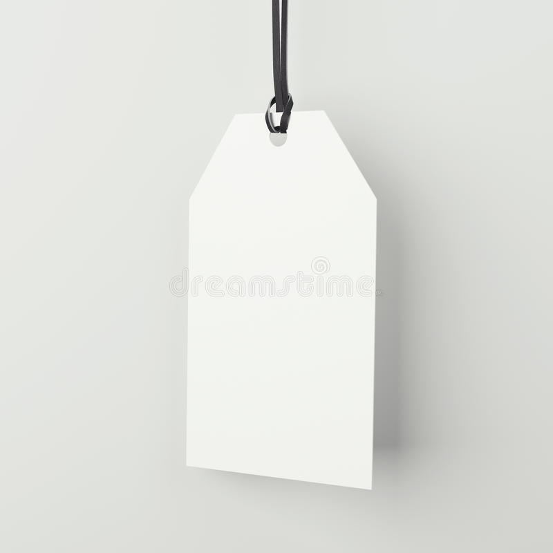Label vide blanc dans le studio lumineux rendu 3d illustration stock