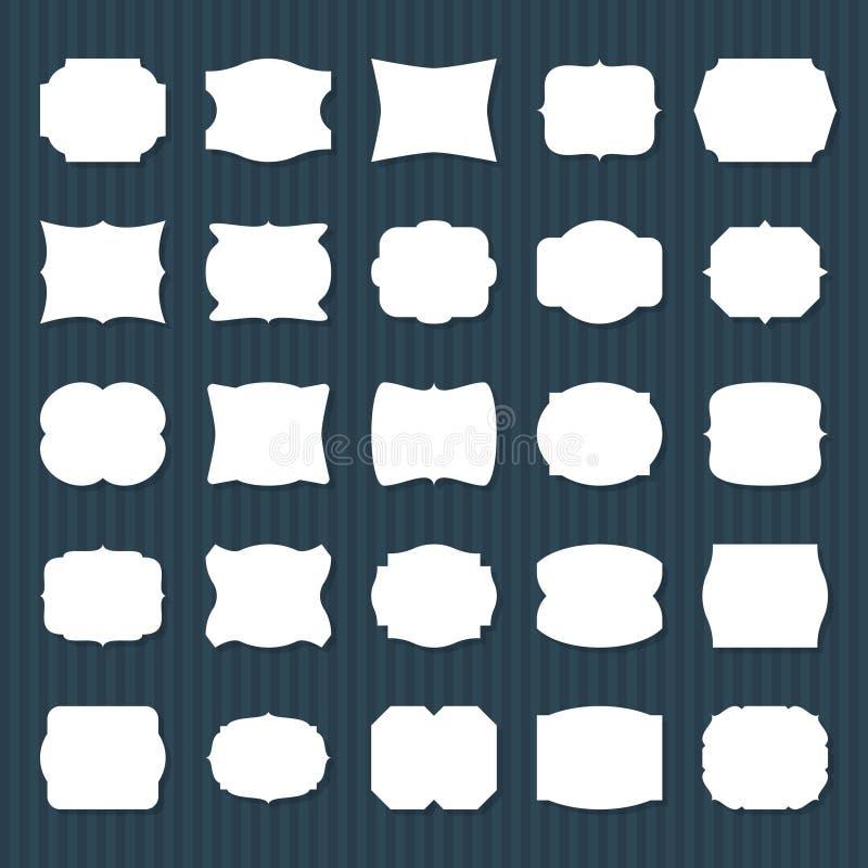 Label vide de cadre Différentes formes de papier vide, labels décoratifs de carte de cru Ensemble simple d'autocollant d'étiquett illustration stock