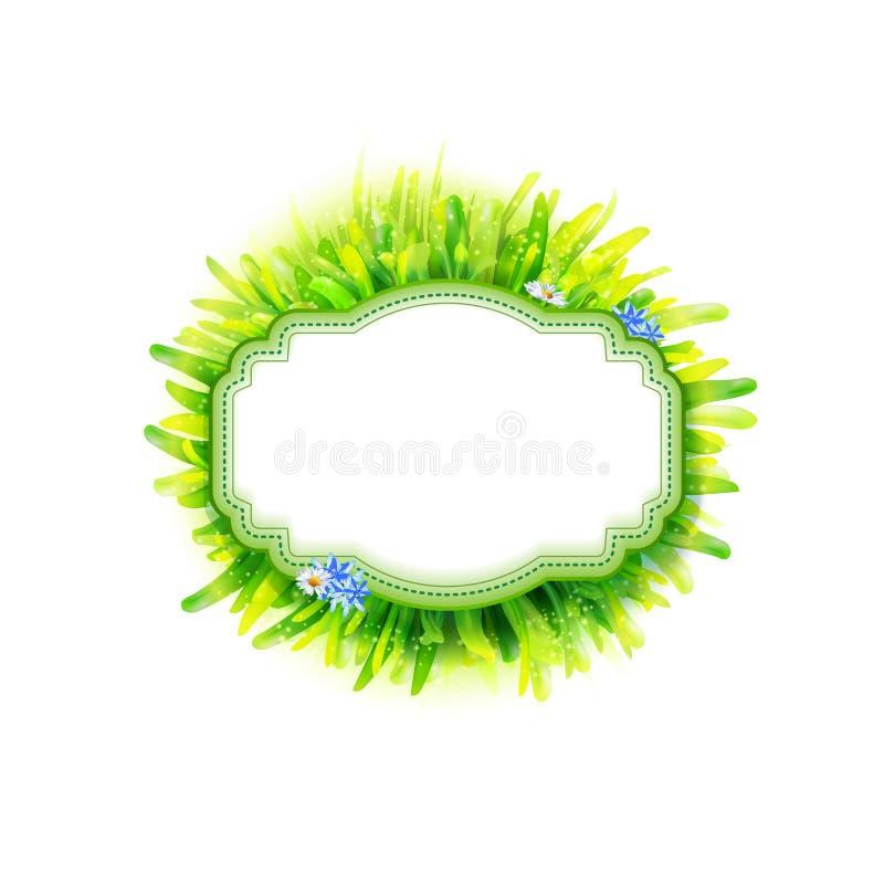 Label vide de vintage avec l'herbe verte illustration de vecteur