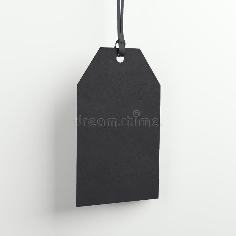 Label vide noir dans le studio lumineux rendu 3d illustration libre de droits