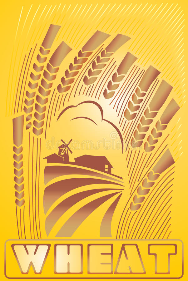 Label wheat and landscape royalty free illustration