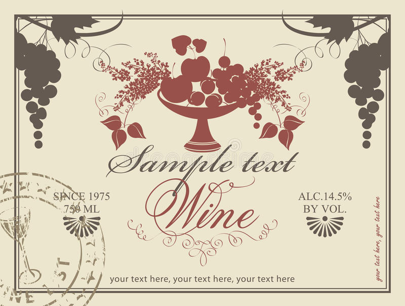 Download Label for wine stock vector. Image of plum, design, font - 32100632