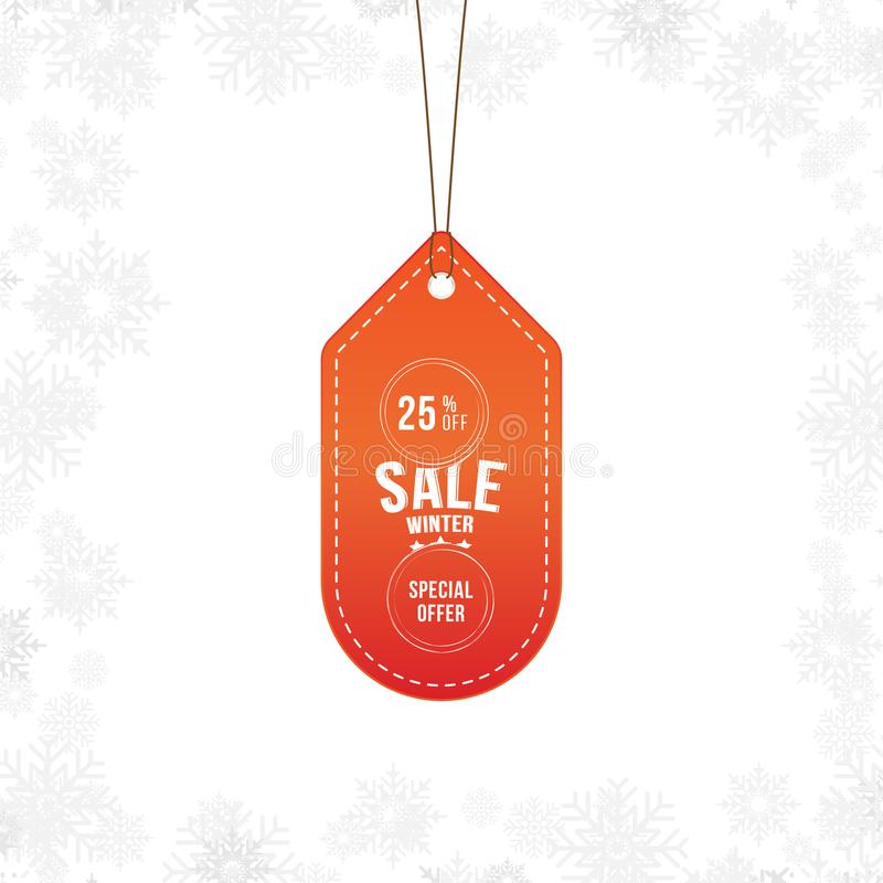 Label winter sale tag with special offer 25 off. Vector element for Merry Christmas and Happy New Year stock illustration