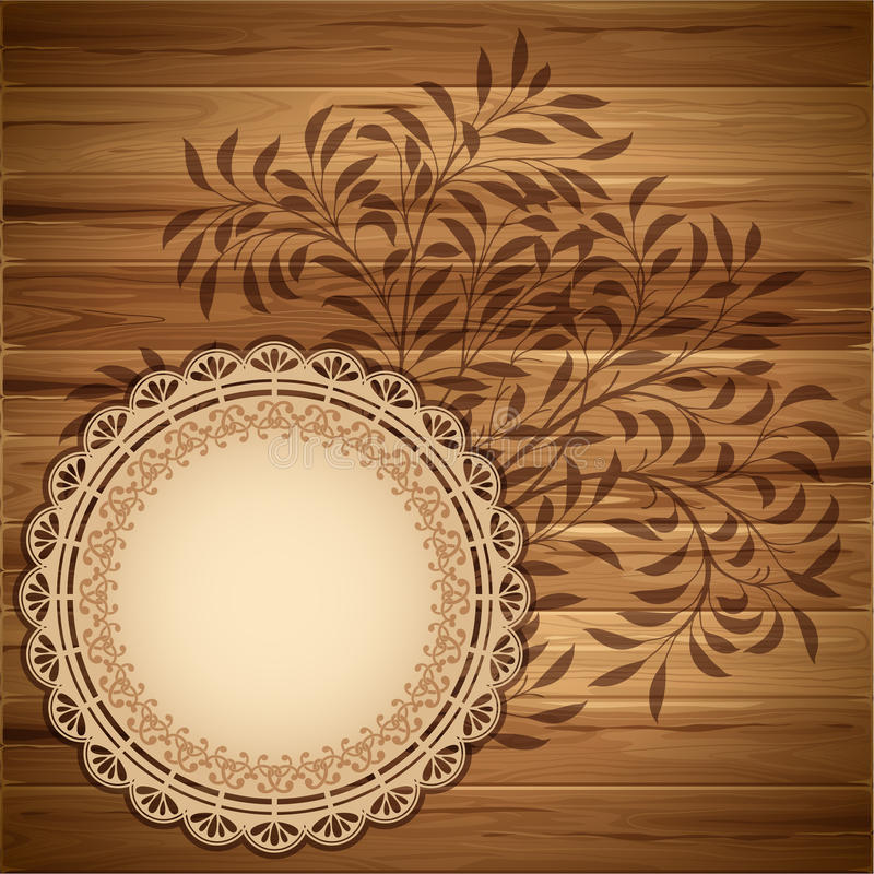 Download Label On The Wooden Background Stock Vector - Illustration of lace, frame: 25131577