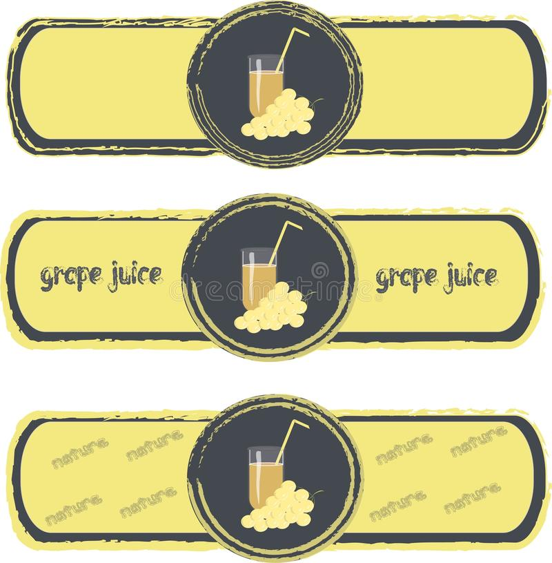 Label. Yellow grapes on a dark blue background, colored, a light yellow frame. Healthy food, fruit, juice, organic, nature, packaging design, product packaging vector illustration