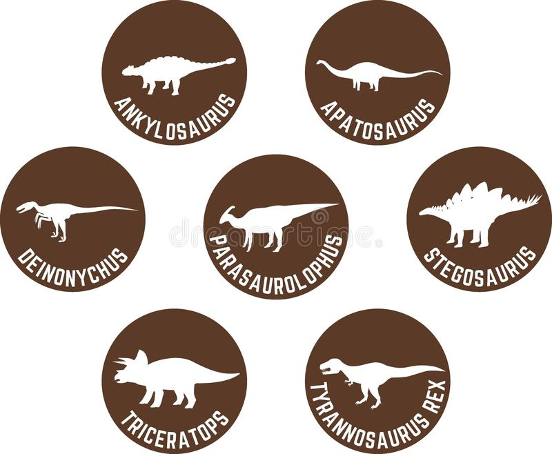 Download labeled dinosaur round icon set brown stock vector illustration of dino dinosaurs