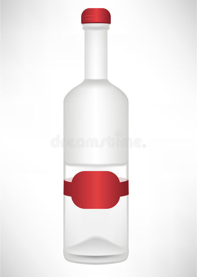 Labelled glass bottle of alcohol