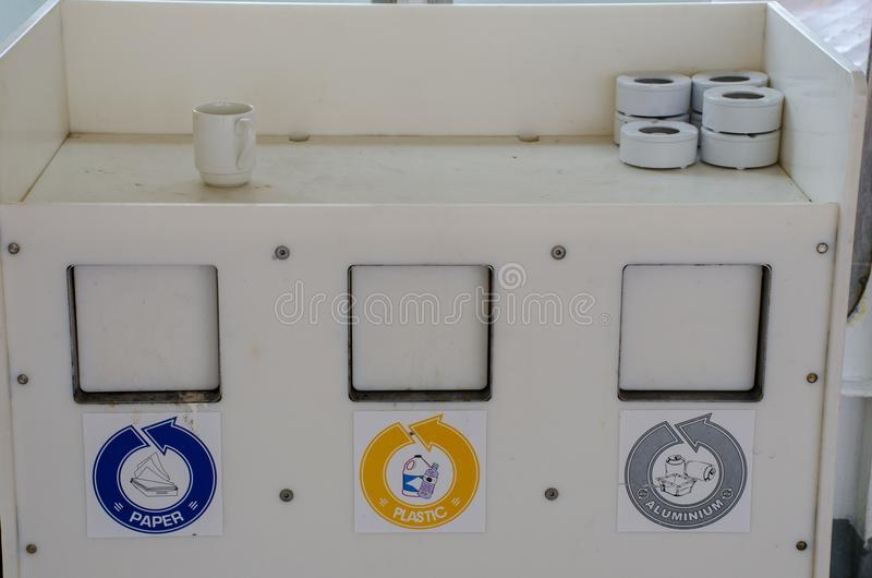 Labelled Waste Containers. In white container royalty free stock photo
