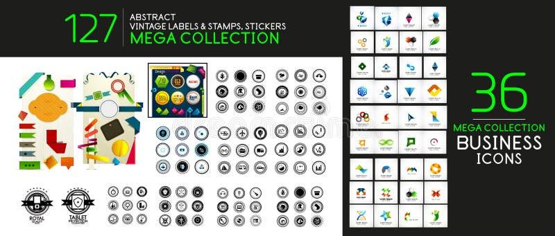 Labels, autocollant, timbres, prix à payer et autre de vintage de vecteur illustration libre de droits