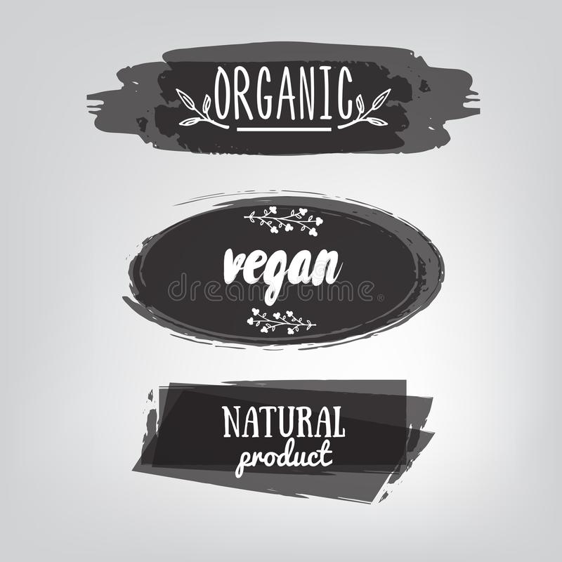 Labels avec des conceptions végétariennes et brutes de régime alimentaire Aliment biologique t illustration stock