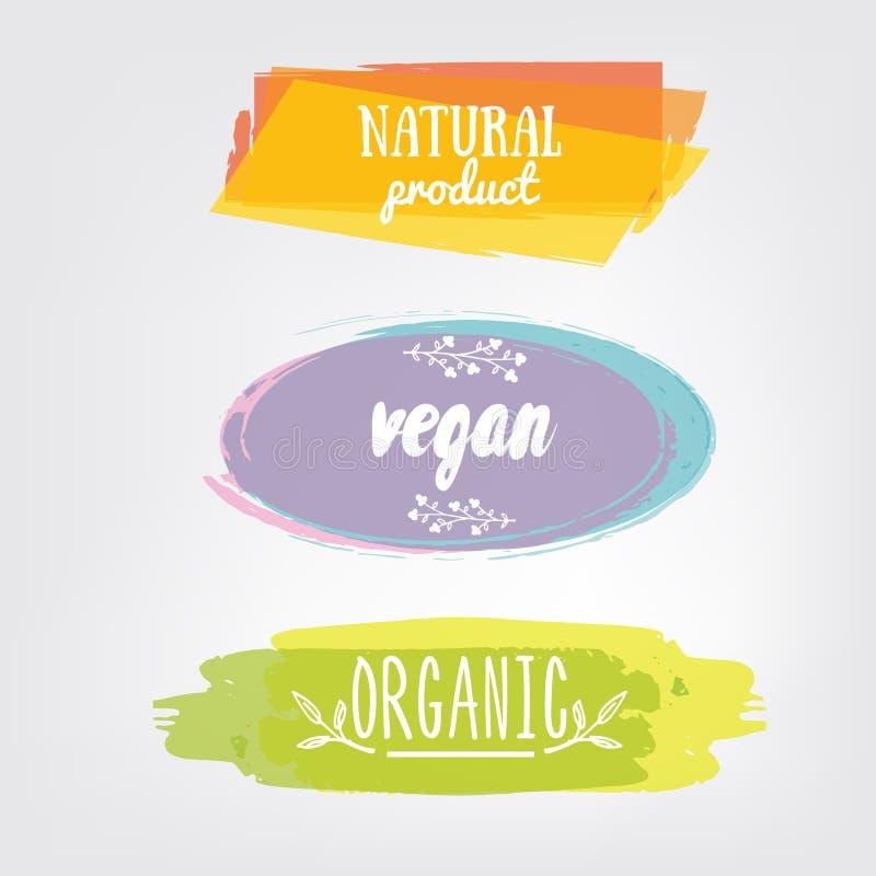 Labels avec des conceptions végétariennes et brutes de régime alimentaire Aliment biologique t illustration de vecteur
