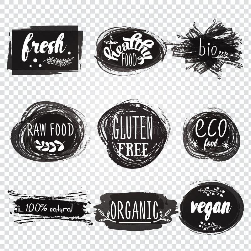 Labels avec des conceptions végétariennes et brutes de régime alimentaire Aliment biologique t illustration libre de droits