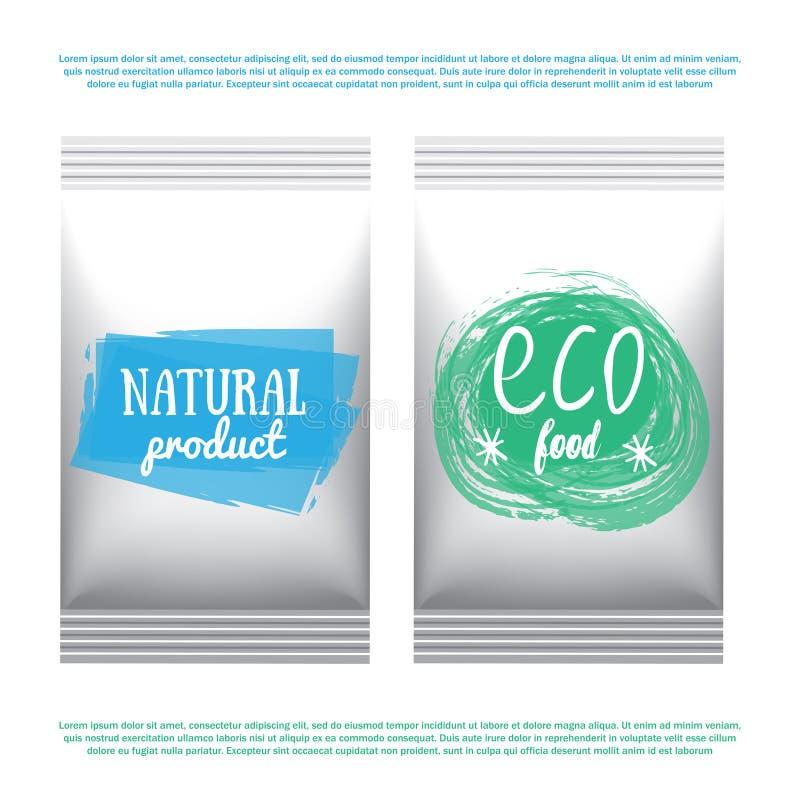 Labels avec des conceptions végétariennes et brutes de régime alimentaire Repas d'aliment biologique et emballage de boissons pou illustration libre de droits