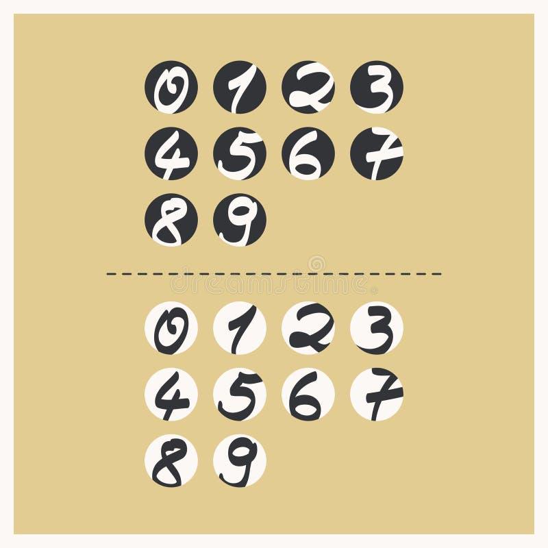 Labels avec des nombres manuscrits illustration libre de droits