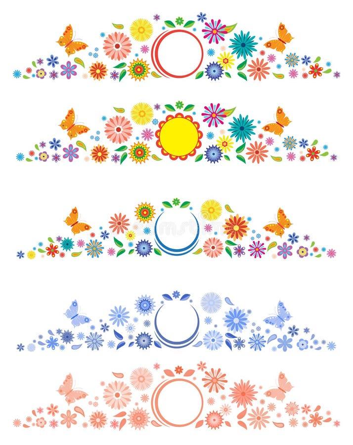 Labels avec les fleurs de fantaisie illustration libre de droits