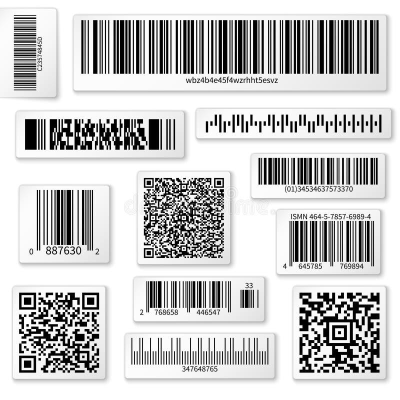 Labels, barre et codes de empaquetage de QR sur les autocollants blancs de vecteur illustration libre de droits