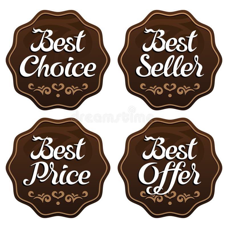 Labels bien choisis d'offre des prix du best-seller illustration de vecteur