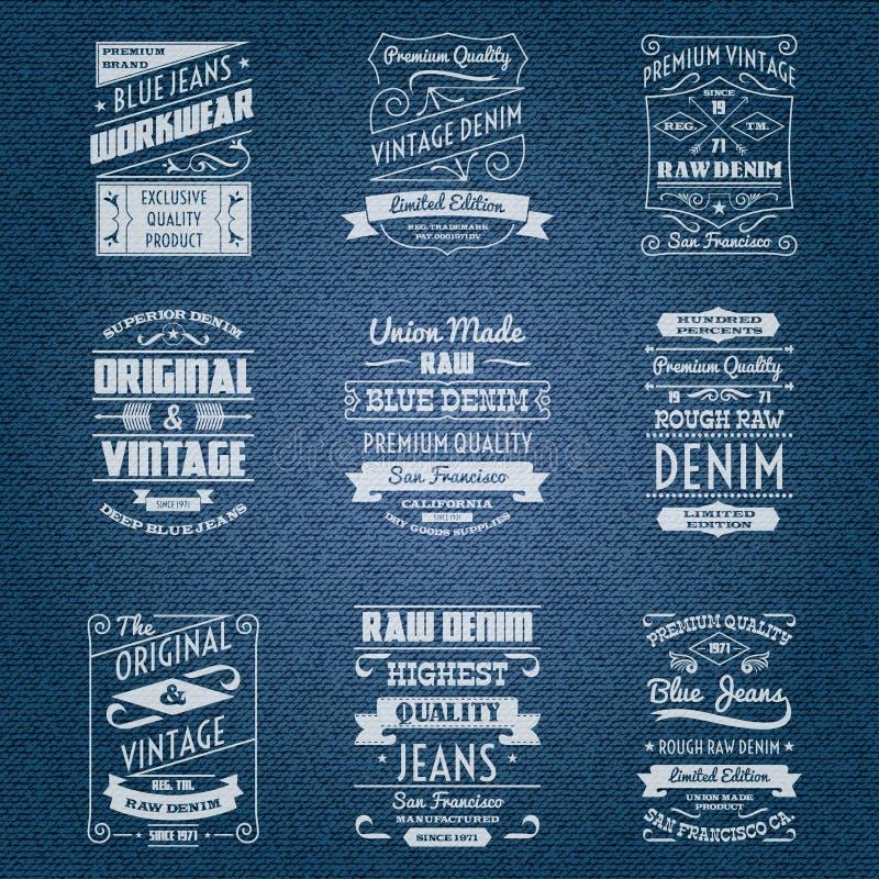 Labels blancs de typographie de jeans de denim illustration stock