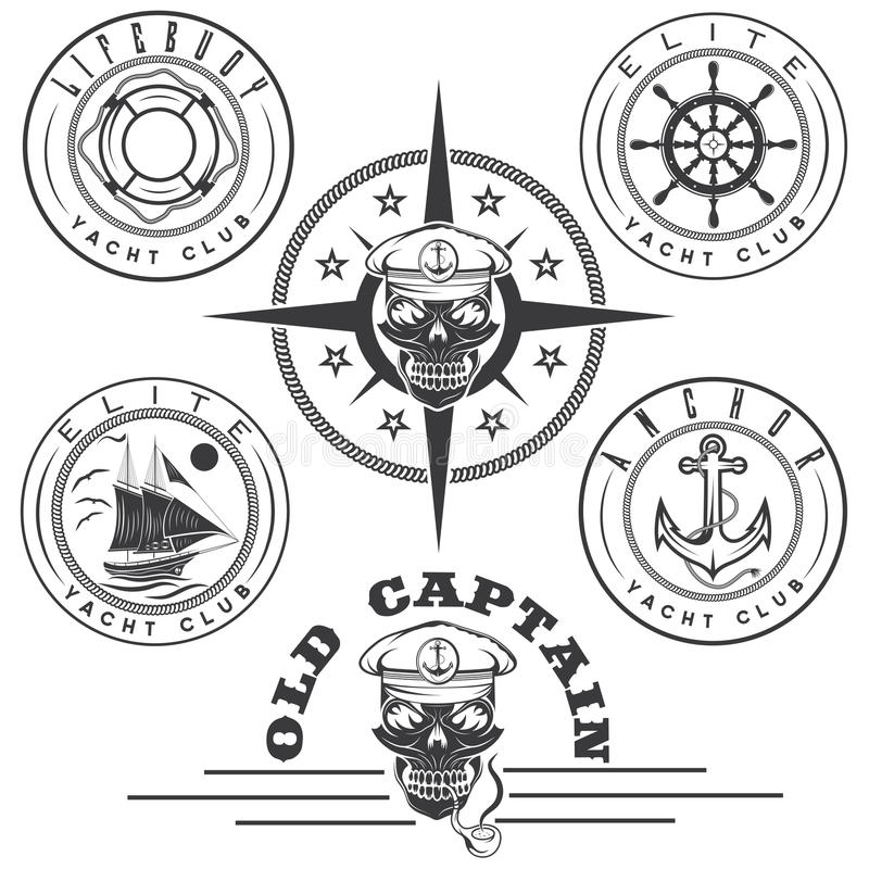 labels with boat ,captain skull ,wheel,anchor and royalty free illustration