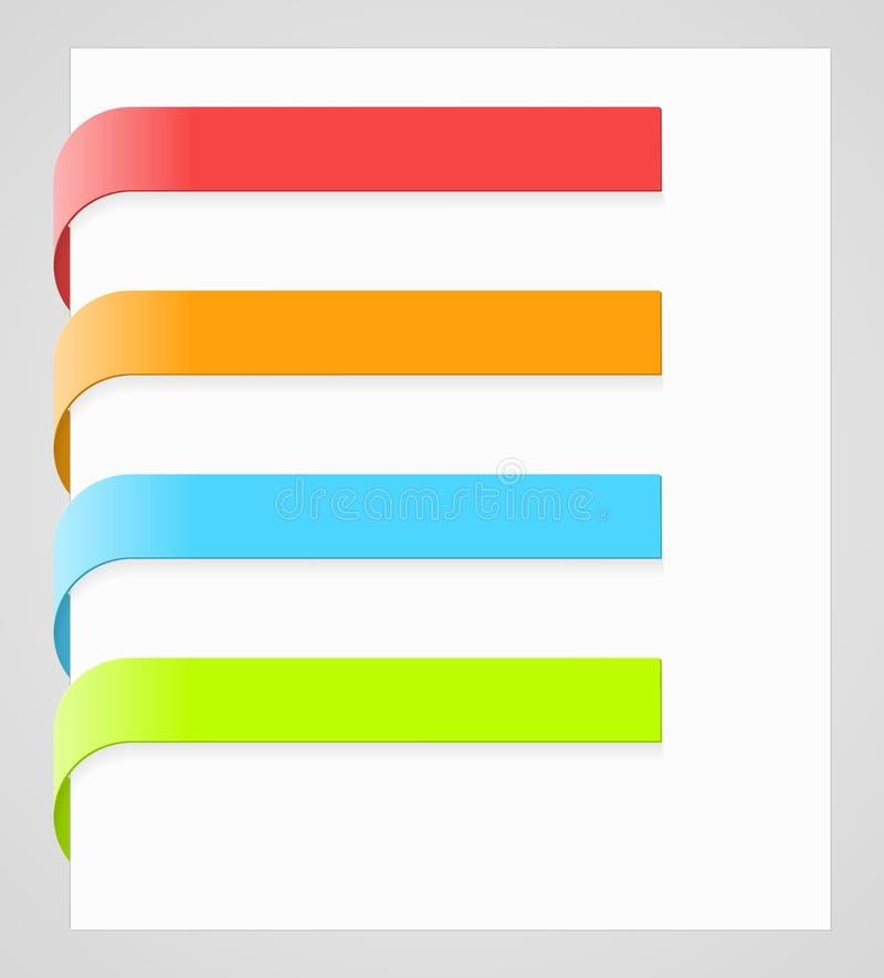 Labels colorés de papier de vecteur illustration stock