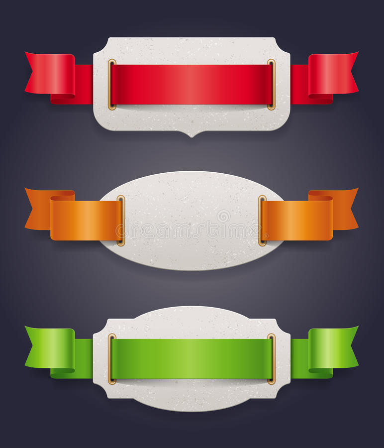 Labels with color silk ribbons. Cardboard labels with color silk ribbons royalty free illustration