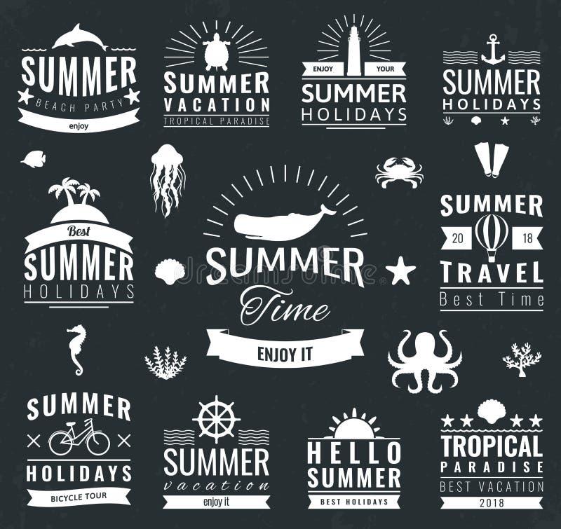 Labels d'été, logos, étiquettes et ensemble d'éléments pour des vacances d'été, voyage, partie de plage, vacances Vecteur illustration libre de droits