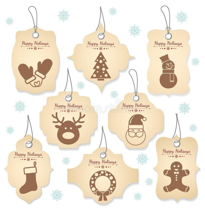 Labels d'étiquette de Noël illustration de vecteur
