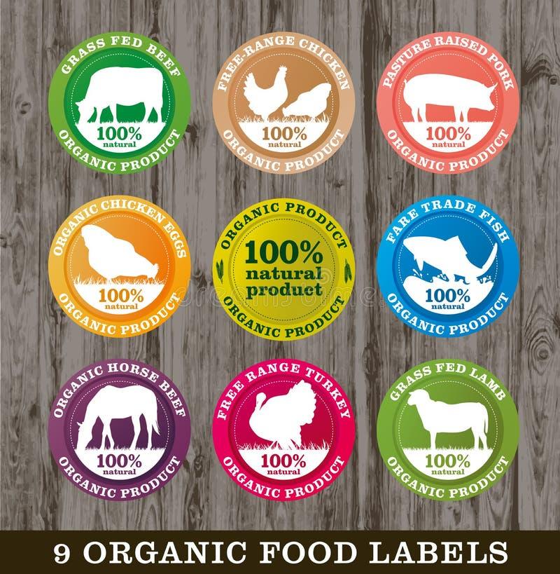 Labels d'aliment biologique, image illustration stock