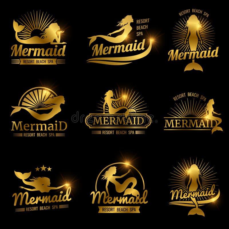 Labels d'or de sirène Conception brillante de logos de station thermale de plage de station de vacances illustration de vecteur