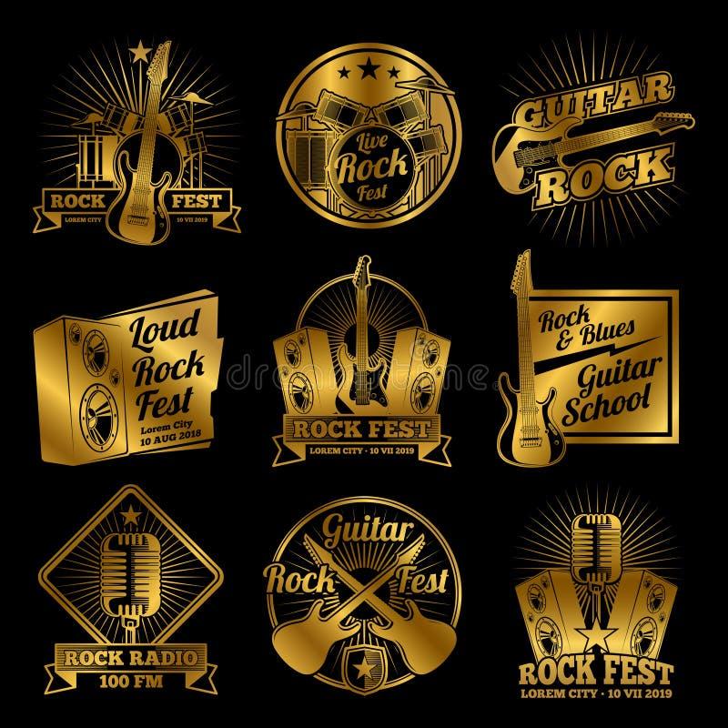 Labels d'or de vecteur de musique de rock sur le fond noir illustration libre de droits