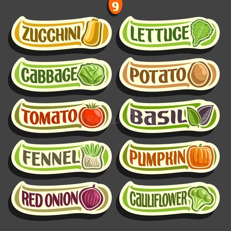 Labels d'ensemble de vecteur avec le texte pour les légumes frais illustration libre de droits