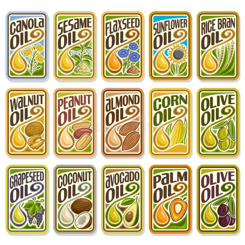 Labels d'ensemble de vecteur faisant cuire et huile de friture illustration stock