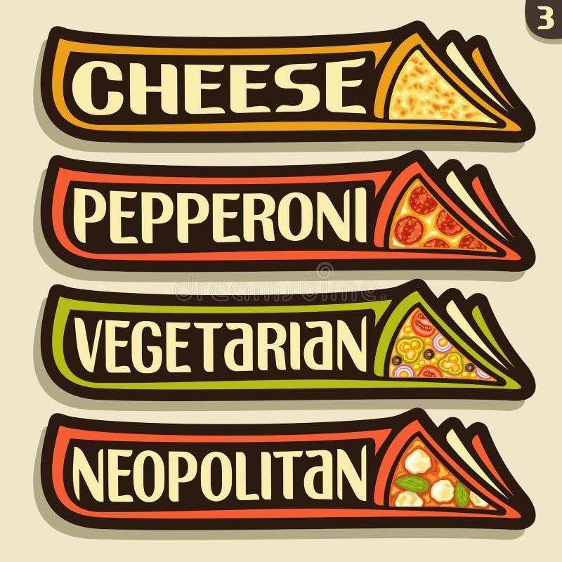 Labels d'ensemble de vecteur pour la pizza italienne illustration libre de droits