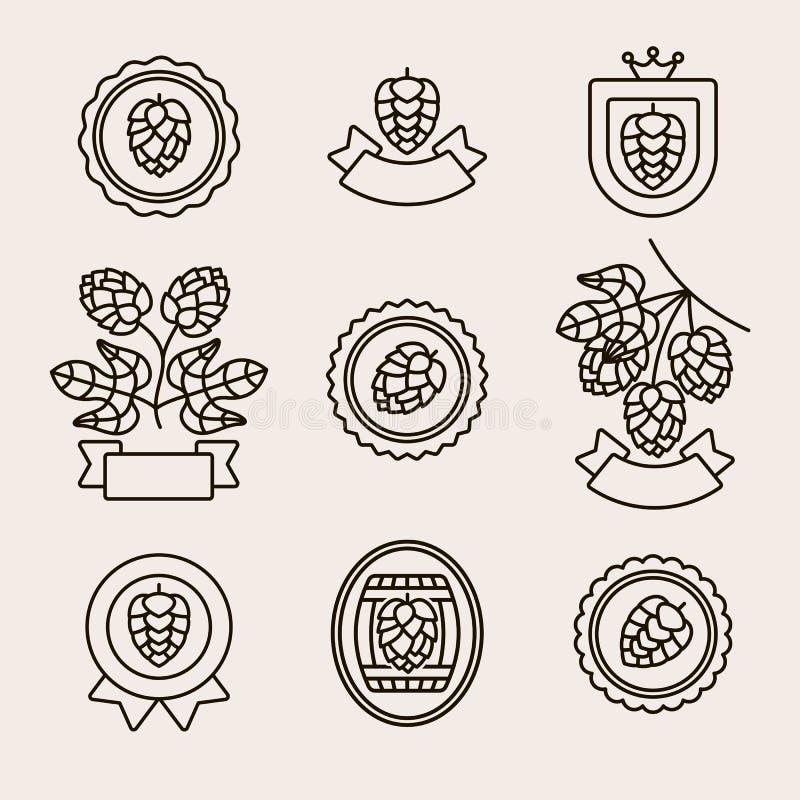 Labels d'houblon et ensemble d'?l?ments Houblon d'ic?ne de collection Vecteur illustration stock