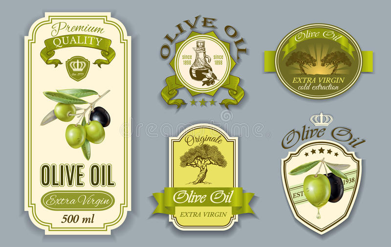 Labels d'huile d'Oilve illustration stock