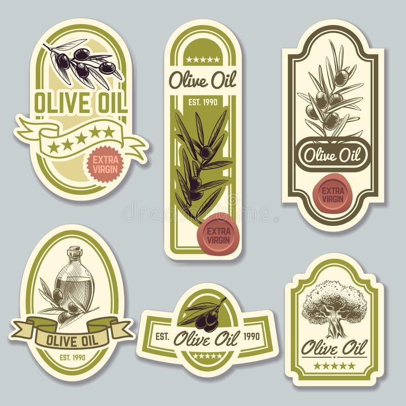 Labels d'huile d'olive Emballage de la meilleure qualité de bouteille avec des olives Ensemble de vecteur illustration stock